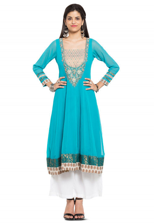 Hand Embroidered Georgette Kurta in Turquoise