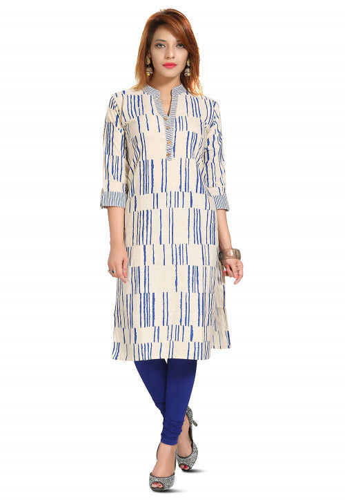 Printed Cotton Kurta in Off White and Blue