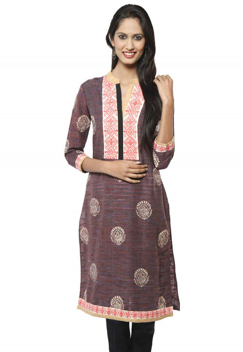 Embroidered Cotton Long Kurta In Brown