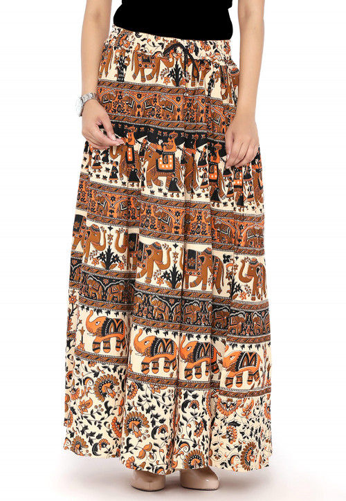 Bagru Cotton Long Skirt in Cream and Multicolor