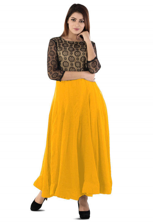Woven Yoke Georgette Anarkali Gown in Yellow and Black