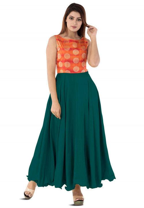 Woven Yoke Art Silk Circular Gown in Dark Teal Green