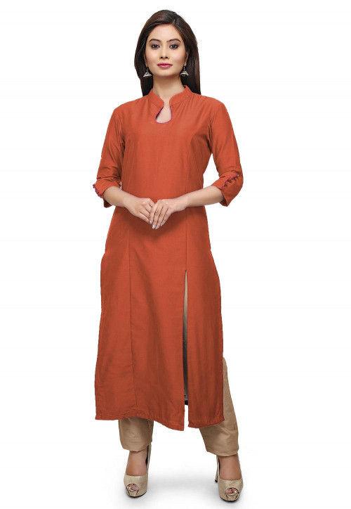 Plain Cotton Silk Side Slit Kurta in Rust