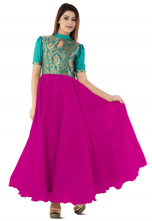 Woven Yoke Dupion Silk Circular Gown in Magenta and Teal Blue