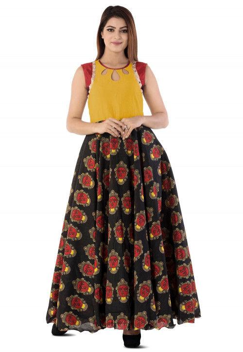 Kalamkari Printed Cotton Silk Circular Gown in Black and Yellow