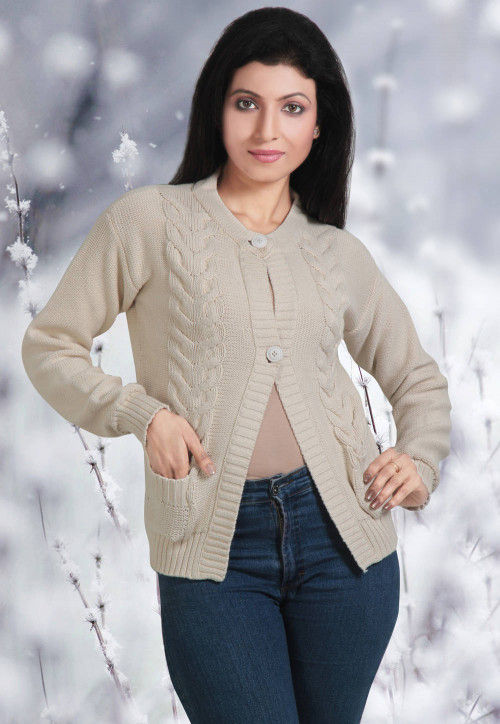 Cotton Knitted Cardigan in Beige