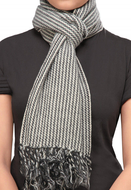 Woolen Blend Stole in White and Black