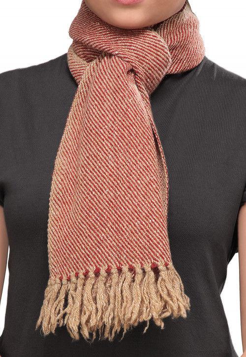 Stripe Pattern Woolen Blend Stole in Red and Beige