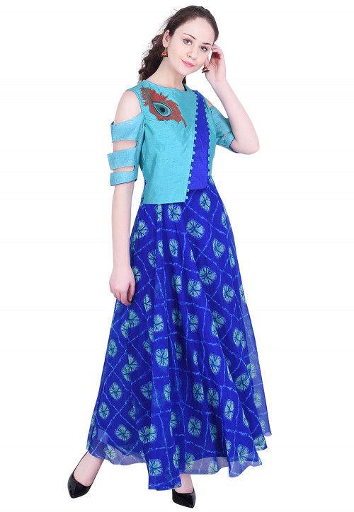 Tie N Dye Printed Georgette Abaya Style Kurta in Blue
