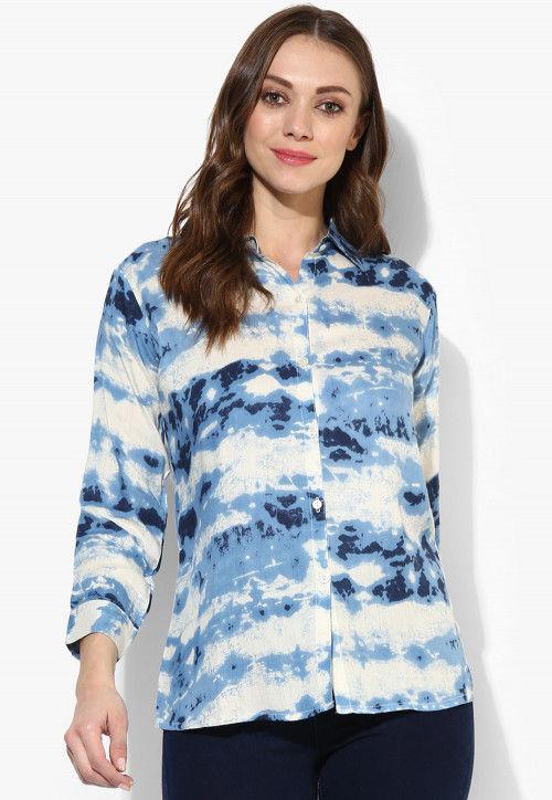 Tye N Dye Viscose Rayon Top in Blue and White