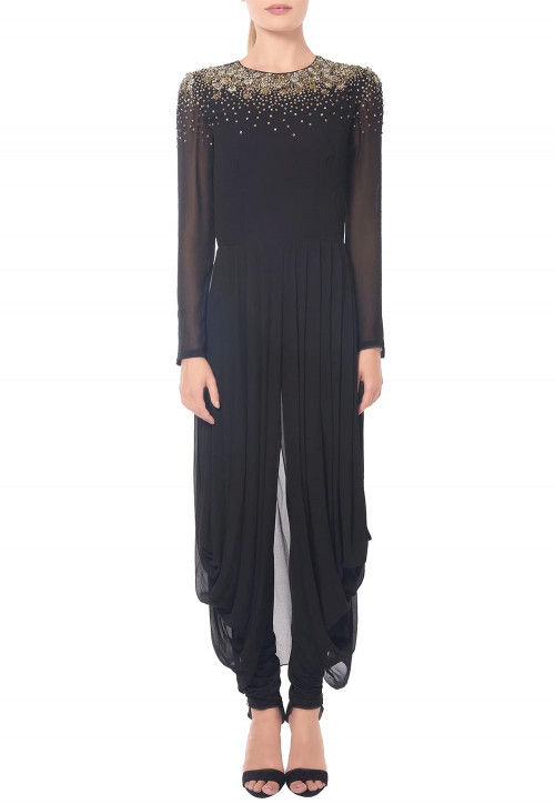 Hand Embroidered Georgette Dhoti Style Kurta Set in Black