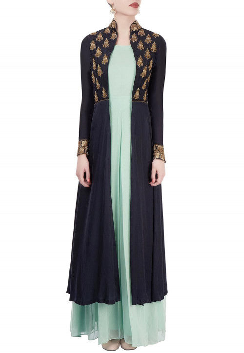 Hand Embroidered Georgette Gown in Green and Blue
