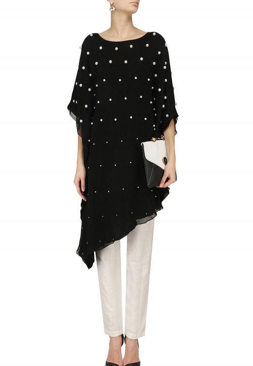 Hand Embroidered Georgette Kaftan Style Kurta Set in Black