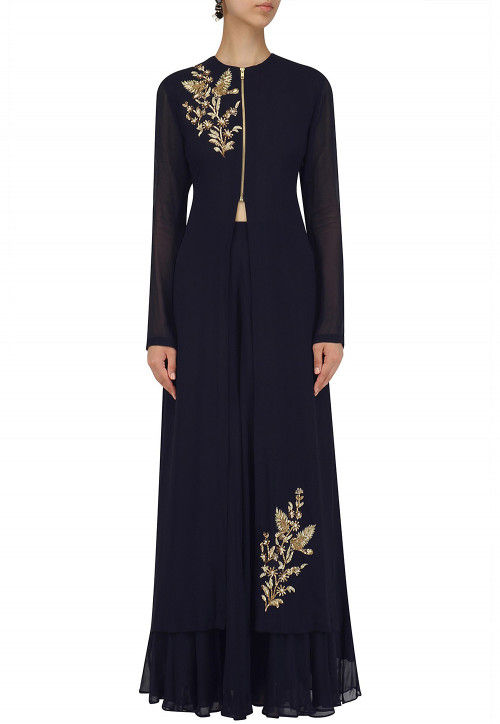 Hand Embroidered Georgette Kurta Set in Navy Blue