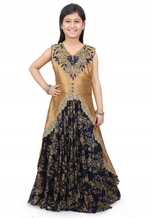 Embroidered Net Gown in Blue and Beige
