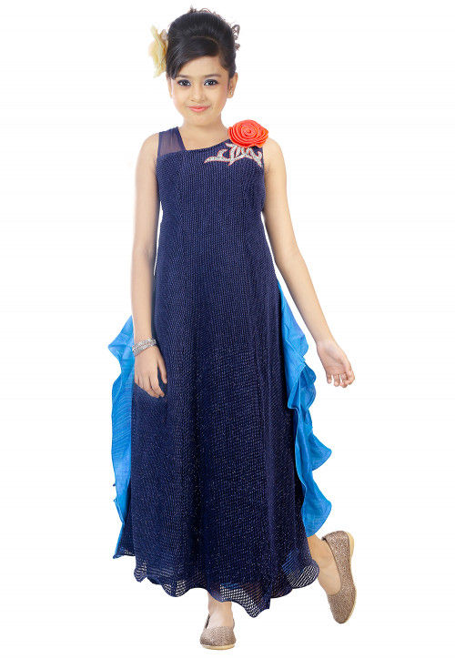 Embroidered Lycra Net Asymmetric Gown in Navy Blue and Blue