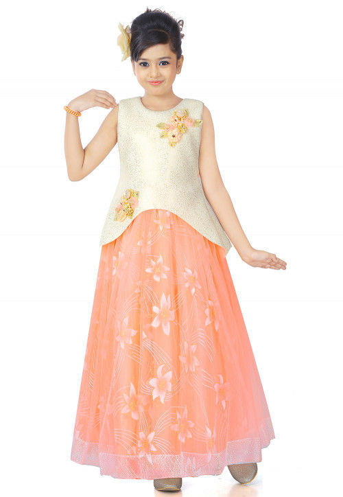 Floral Printed Net Layered Gown in Peach and Off White