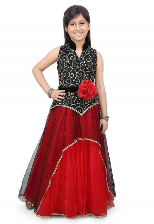 Embroidered Net and Shimmer Lycra Gown in Black and Red