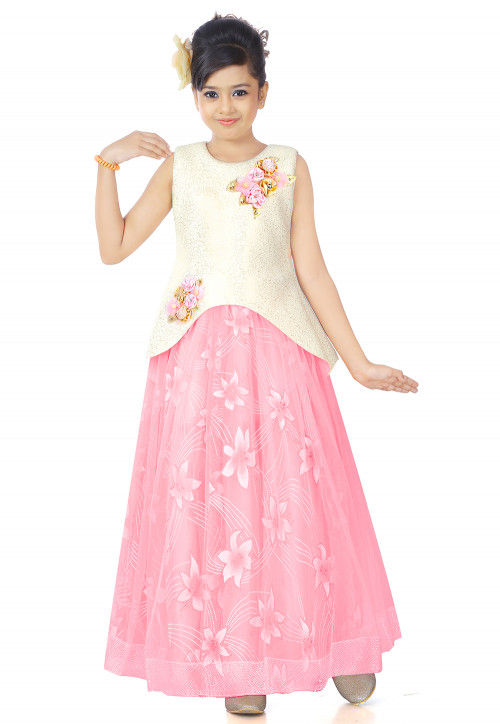 Floral Printed Net Layered Gown in Pink and Off White