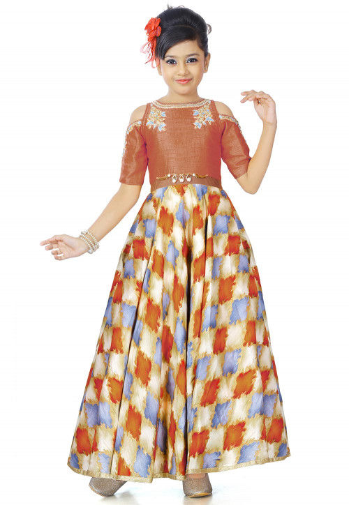 Abstract Printed Art Silk Gown in Multicolor and Orange