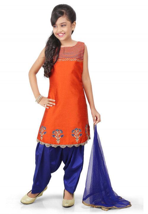 Block Printed Art Dupion Silk Straight Suit in Orange