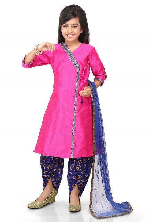 Plain Art Dupion Silk Angrakha Style Suit in Fuchsia