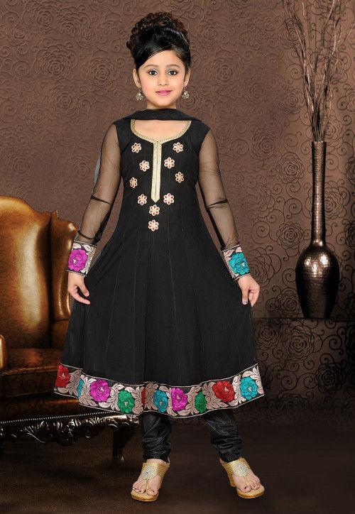 Embroidered Net Salwar Set in Black