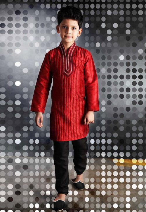 Embroidered Art Silk Kurta Pyjama Sets in Red