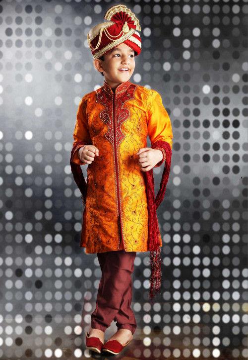 Embroidered Dupion Silk Sherwani Set in Orange