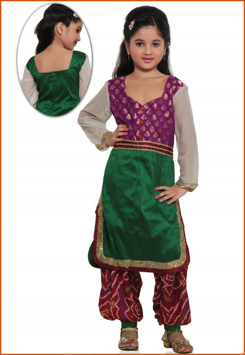 Embroidered Raw Silk Salwar Set in Purple and Green