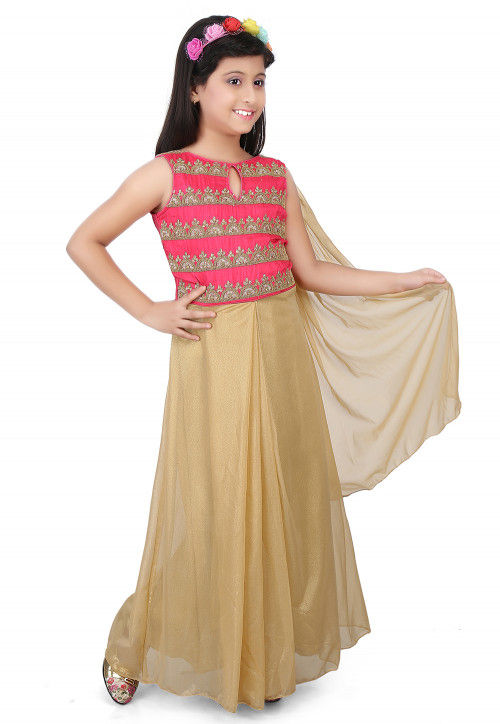Embroidered Shimmer Lycra Saree Style Gown in Coral and Beige