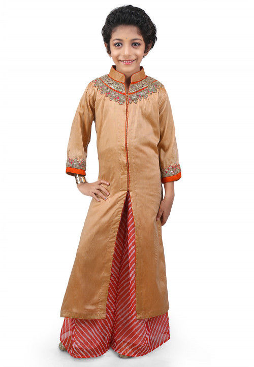 Embroidered Cotton Silk Jacket Style Long Kurta Set in Beige