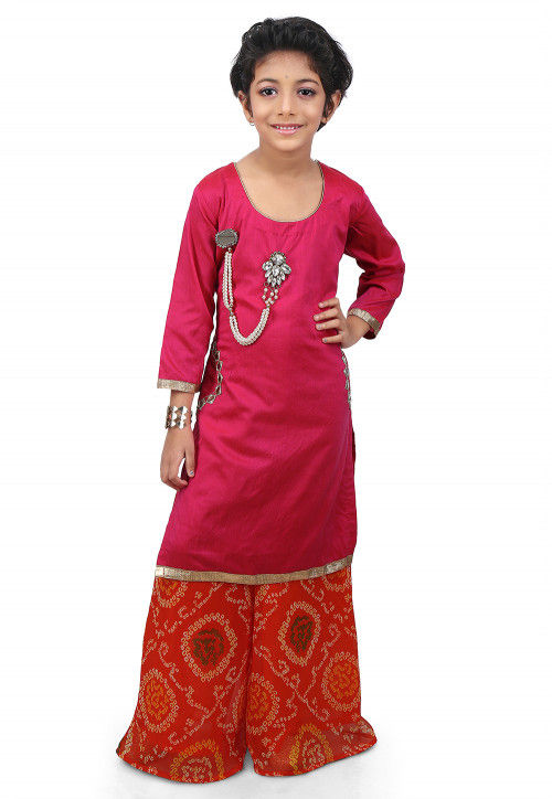 Embroidered Cotton Silk High Low Long Kurta  Set in Fuchsia