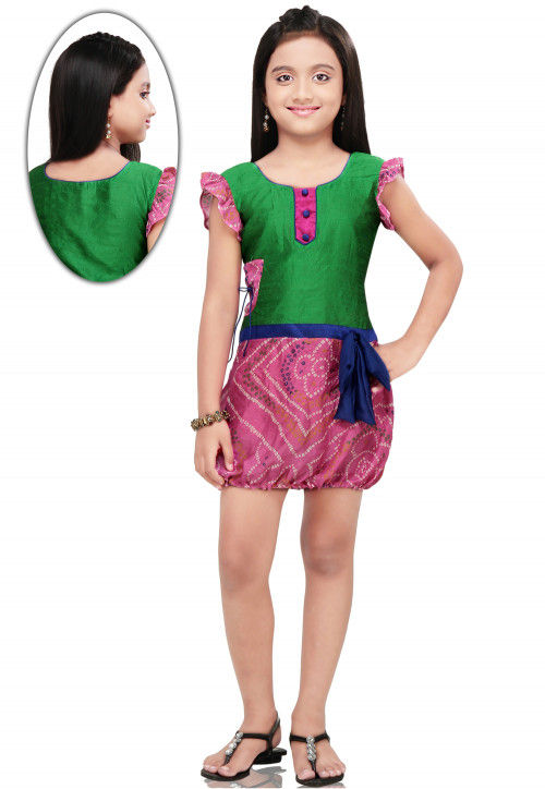 Crepe and Dupion Silk Dress in Green