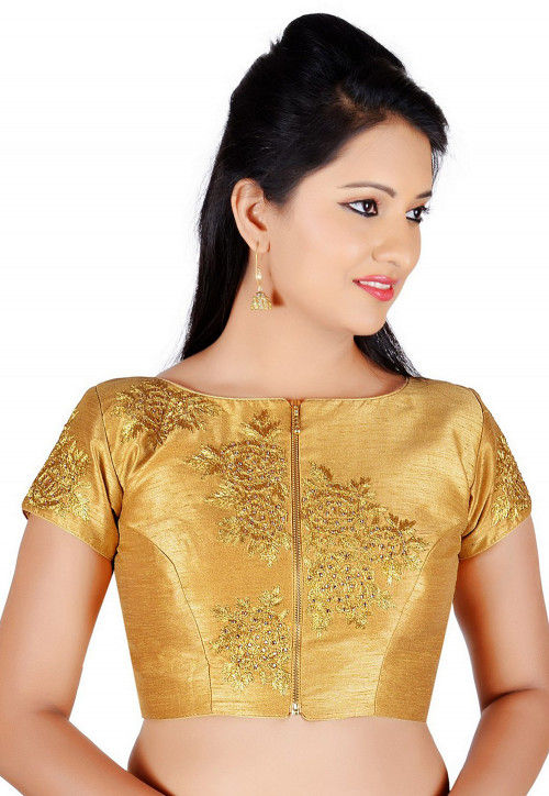 Embroidered Dupion Silk Blouse in Golden