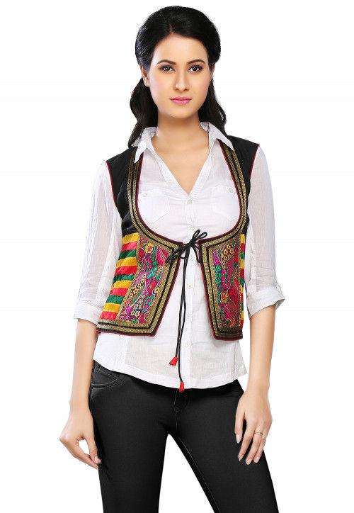 Woven Art Chanderi and Velvet Jacket in Multicolor