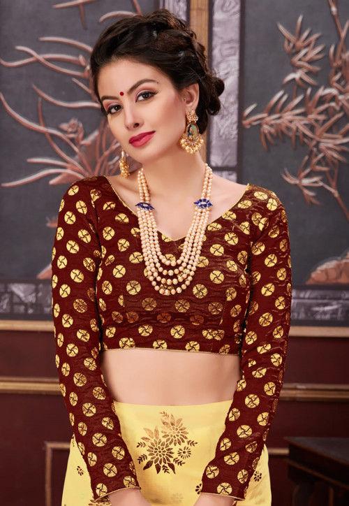 Woven Art Silk Blouse in Brown