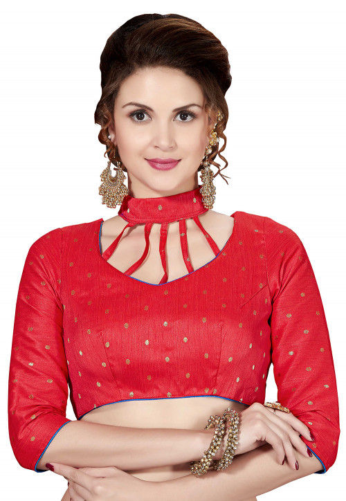 Woven Art Silk Blouse in Red