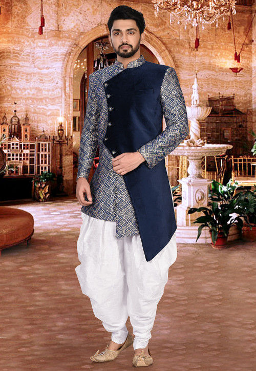 Woven Art Silk Dhoti Asymmetric Sherwani in Blue and White