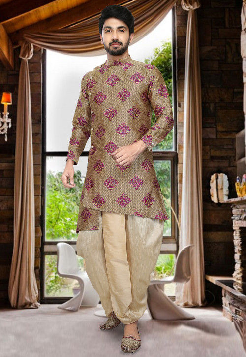 Woven Art Silk Dhoti Kurta in Light Yellow and Magenta