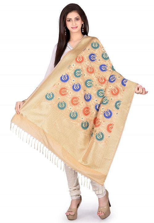 Woven Art Silk Dupatta in Beige
