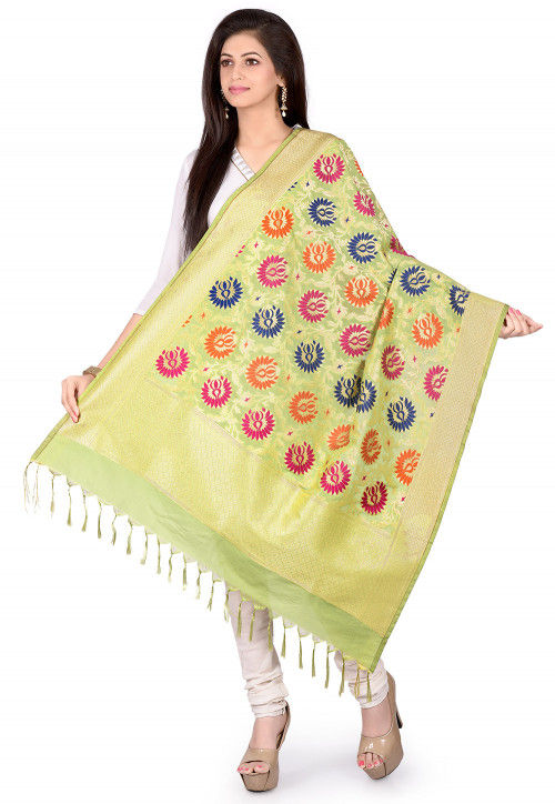 Woven Art Silk Dupatta in Light Green