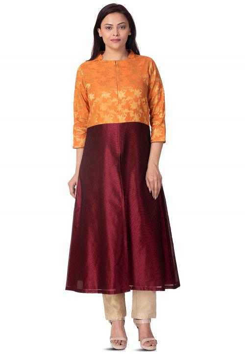 Woven Art Silk Front Slit A Line Kurta in Maroon and Orange