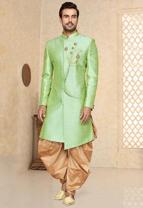 Woven Art Silk Jacquard Asymmetric Sherwani in Light Green
