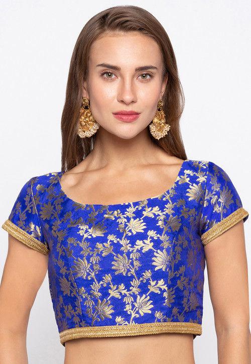 Woven Art Silk Jacquard Blouse in Royal Blue