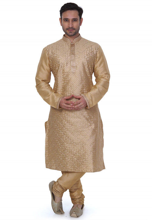 Woven Art Silk Jacquard Kurta Set in Beige