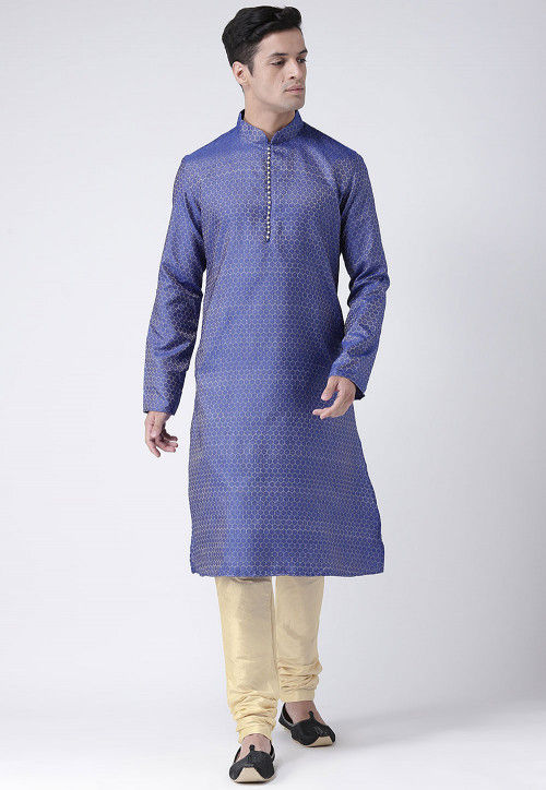 Woven Art Silk Jacquard Kurta Set in Blue