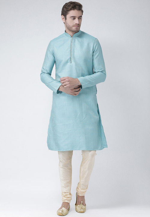 Woven Art Silk Jacquard Kurta Set in Light Blue