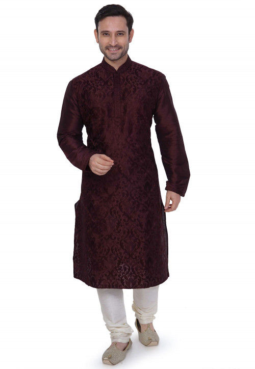 Woven Art Silk Jacquard Kurta Set in Wine