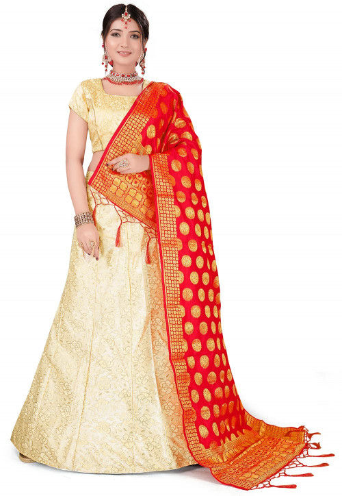 Woven Art Silk Jacquard Lehenga in Light Yellow
